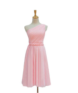 Sweet Pink A Line One Shoulder Knee Length Chiffon Bridesmaid Dresses Prom Dresses - NICEOO