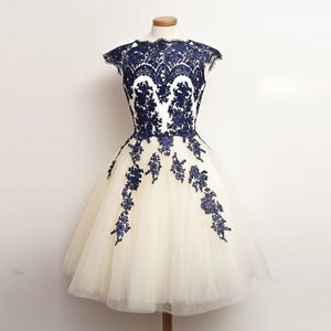 Elegant A Line Scoop Neck Cap Sleeves Short Prom Dresses Lace Homecoming Dresses - NICEOO