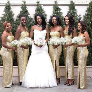 Sexy Gold Sweetheart Side Split Slim Line Sequin Bridesmaid Dresses Plus Size Prom Dresses - NICEOO