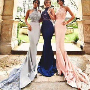 Gorgeous White Halter Empire Waist Mermaid Affordable Satin Evening Dresses Prom Dresses