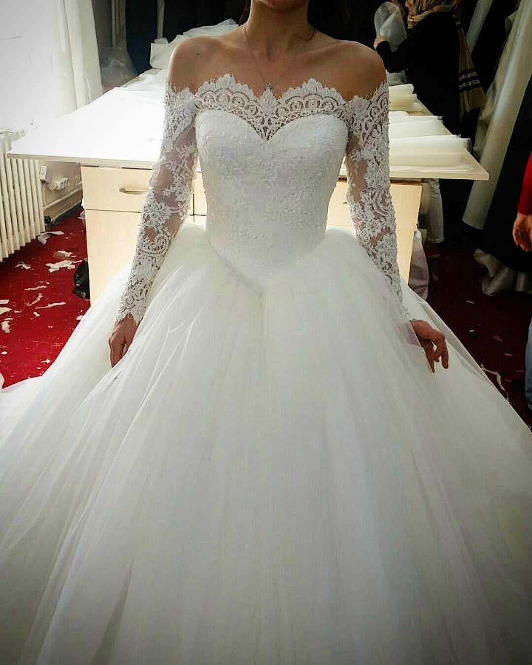 dbd8d1871 sexy lace long sleeves tulle wedding dresses off shoulder bridal dress |  Niceoo