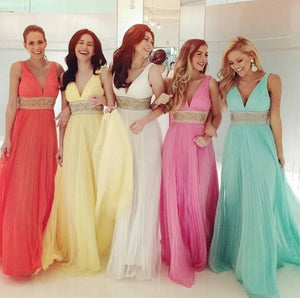 Elegant Yellow A Line Sleeveless V Neck Empire Waist Chiffon Prom Dresses Evening Dresses - NICEOO