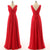 Elegant Red A Line V Neck V Back Sleeveless Chiffon Bridesmaid Dresses Evening Dresses