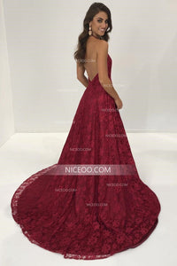 Sexy Halter Open Back Side Split Lace Prom Dresses Long Evening Dresses