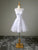 Cute White A Line Round Neck Beading Knee Length Lace Bridesmaid Dresses Prom Dresses - NICEOO