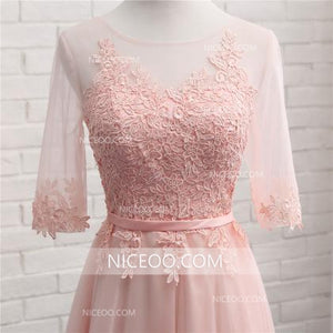Elegant Blush Pink A Line Sweetheart Tea Length Tulle Bridesmaid Dresses Evening Dresses - NICEOO