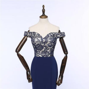 Elegant Navy Blue Off Shoulder Sweetheart Mermaid Satin Military Ball Dresses Prom Dresses - NICEOO