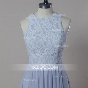 Simple Light Blue A Line Sleeveless Round Neck Chiffon Bridesmaid Dresses Prom Dresses