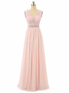 Simple Blush Pink A Line V Neck V Back Sleeveless Bridesmaid Dresses Prom Dresses - NICEOO