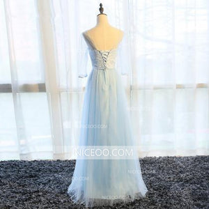 Elegant Light Blue A Line Sweetheart Lace Up Bow Tulle Long Bridesmaid Dresses Evening Dresses - NICEOO