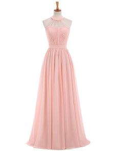 Elegant Pink A Line Halter Sweetheart Chiffon Cheap Bridesmaid Dresses Evening Dresses - NICEOO