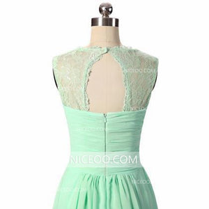 Simple Mint Green A Line Strap Chiffon Long Bridesmaid Dresses Sweetheart Prom Dresses