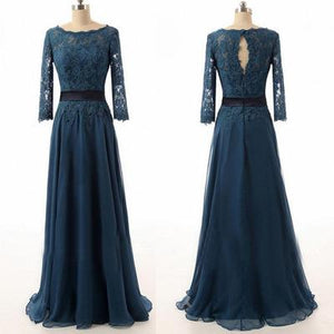 Elegant Blue A Line Long Sleeves Chiffon Bridesmaid Dresses Cheap Evening Dresses - NICEOO