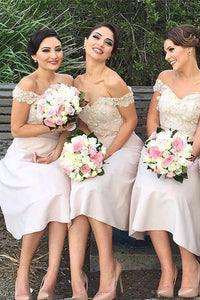 Pink Off Shoulder Sweetheart Tea Length Bridesmaid Dresses Prom Dresses With Appliques - NICEOO