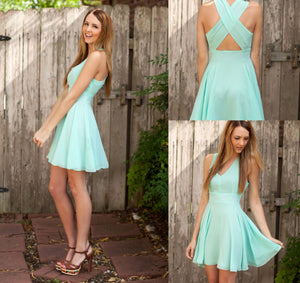Sweet Mint Green V Neck Cross Back Chiffon Bridesmaid Dresses Short Prom Dresses