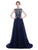 Navy blue Round Neck chiffon prom dresses long evening dresses