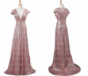 Rose Gold A Line V Neck Empire Waist Long Bridesmaid Dresses Sequin Prom Dresses - NICEOO