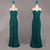 Dark Green Two Styles A Line Strapless Chiffon Bridesmaid Dresses Long Prom Dresses - NICEOO