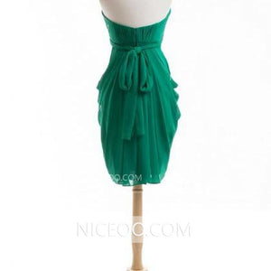 Simple Green Slim Line Strapless Chiffon Bridesmaid Dresses Short Prom Dresses - NICEOO