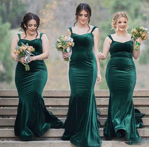 Sexy Dark Green Strap Sweetheart Mermaid Satin Bridesmaid Dresses Long Prom Dresses - NICEOO
