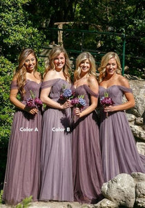 Purple A Line Off Shoulder Tulle Long Bridesmaid Dresses Sweetheart Prom Dresses - NICEOO