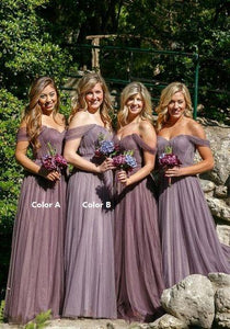 Purple A Line Off Shoulder Tulle Long Bridesmaid Dresses Sweetheart Prom Dresses