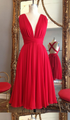 A Line Red V Neck Cut Out Short Bridesmaid Dresses Cheap Prom Dresses With Bow