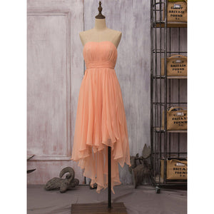 A Line Orange Strapless Empire Waist Chiffon High Low Bridesmaid Dresses Prom Dresses - NICEOO