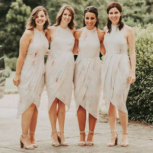 Slim Line Rice White Sleeveless Round Neck Cheap Bridesmaid Dresses Chiffon Prom Dresses