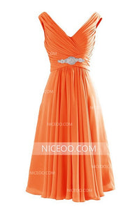 Pink V Neck V Back Short Bridesmaid Dresses Chiffon Homecoming Dresses - NICEOO