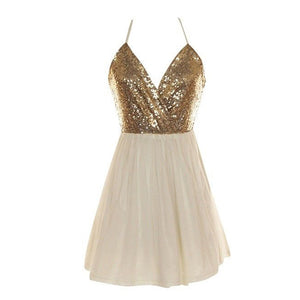 V Neck Gold Spaghetti Strap Open Back Sequin Short Homecoming Dresses Sequin Prom Dresses
