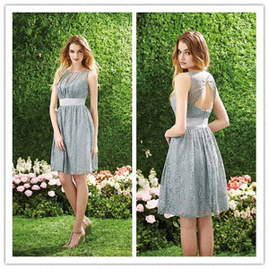 Silver Lace Sleeveless A Line Open Back Knee Length  Bridesmaid Dresses Cheap Prom Dresses - NICEOO