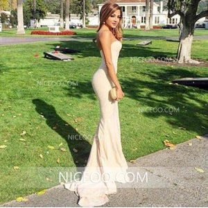 Sexy Mermaid Sweetheart Open Back Satin Evening Dresses Long Prom Dresses