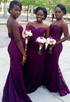Dark Purple Sweetheart Open Back Mermaid Lace Bridesmaid Dresses Best Prom Dresses