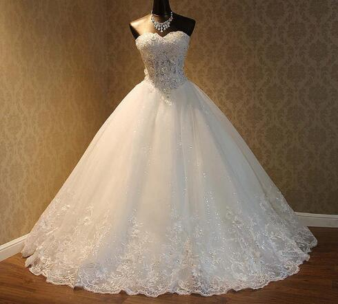 Elegant Luxury Lace Wedding Dress Vintage Plus Size Beaded Ball Gowns