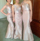 Blush Pink One Shoulder Slim Line Bridesmaid Dresses Cheap Prom Dresses With Bow - NICEOO