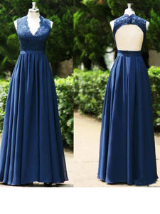 Navy Blue A Line V Neck Sleeveless Open Back Chiffon Formal Dresses Prom Dresses - NICEOO