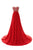 Red Strapless Floor Length Chiffon Prom Dresses Military Ball Dresses With Rhinestones - NICEOO