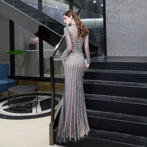 Elegant Grey Long Sleeve Mermaid Prom Dresses With Crystals
