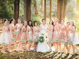 Simple Rose Gold V Neck V Back Short Bridesmaid Dresses