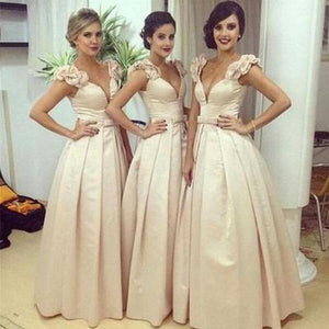 Gorgeous Champagne A-Line Empire Waist V-Neck Affordable Satin Evening Dresses Prom Dresses