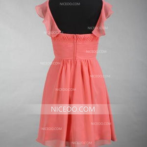 A Line Sweet Peach Red Knee Length Chiffon Bridesmaid Dresses Sweetheart Prom Dresses - NICEOO
