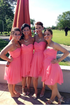 Pink Strapless A Line Empire Waist Chiffon Bridesmaid Dresses Short Prom Dresses