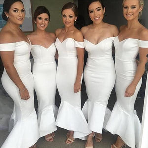 Off Shoulder White Sweetheart Mermaid Satin Tea Length Bridesmaid Dresses Prom Dresses - NICEOO