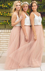 Simple Blush Pink Scoop Neck Sleeveless Affordable Chiffon Bridesmaid Dresses Evening Dresses