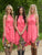 Peach Round Neck Sleeveless Knee Length Chiffon Bridesmaid Dresses Cheap Prom Dresses - NICEOO