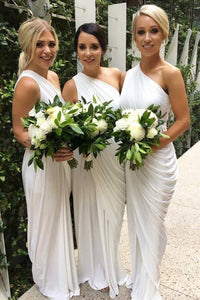 White One Shoulder Long Chiffon Bridesmaid Dresses With Ruffles