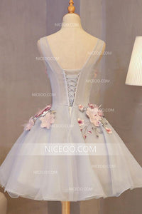 A Line Sleeveless Tulle Homecoming Dresses Short Cocktail Dresses With Appliques - NICEOO