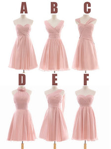 A Line Cute Six Styles Pink Sleeveless Short Bridesmaid Dresses Sweetheart Prom Dresses - NICEOO