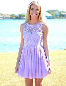 Cute Lilac Sleeveless Round Neck Chiffon Evening Dresses Short Prom Dresses - NICEOO
